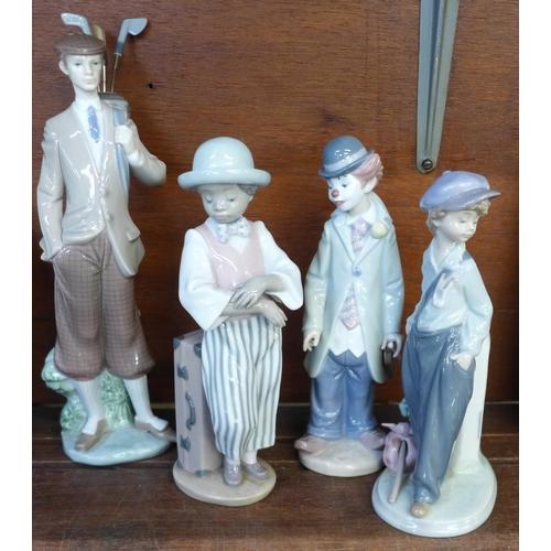 654 - Four Lladro porcelain figure, Boy with Napsack The Wanderer, 22cm, model no. 5400, designer Antonio ...