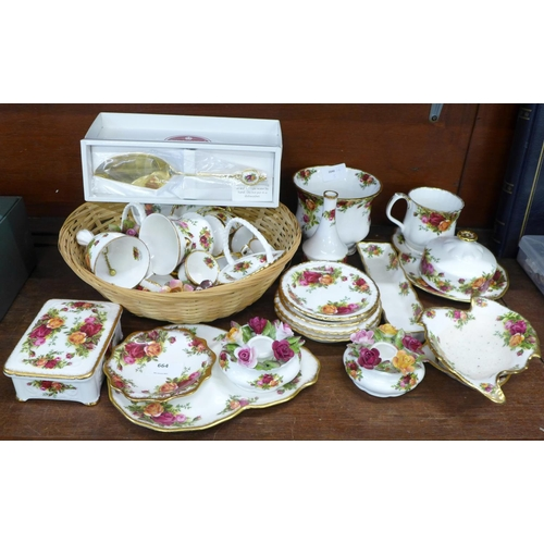 664 - Royal Albert Old Country Roses china including a trinket box, vases, miniature tea service, one cup ...