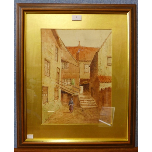 1 - E. Nevil, figure in a courtyard, watercolour, 37 x 28cms, framed...