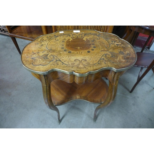 106 - A French Louis XV style walnut and marquetry inlaid etagere, 71cms h , 54cms w...
