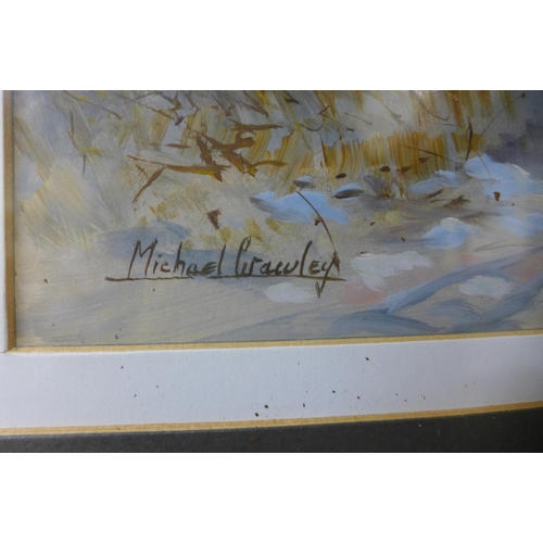 11 - Michael Crawley, figures in a winter woodland landscape, watercolour, 34 x 26cms, framed...