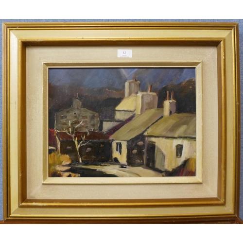 12 - British Modernist School, town landscape, oil on board, 29 x 39cms, framed...
