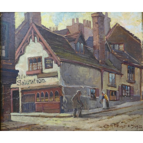 12a - Chas. A. Paulden, Ye Olde Salutation Inn, Hounds Gate, Nottingham, oil on canvas, dated 1922, 29 x 3...