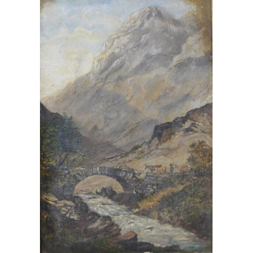 12c - Continental School (19th Century), landscape with cattle and figure crossing a mountainous river, oi...