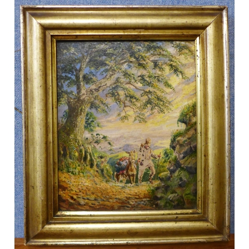 13 - Continental School (19th Century), figure with a donkey on a path, oil on board, indistinctly signed...