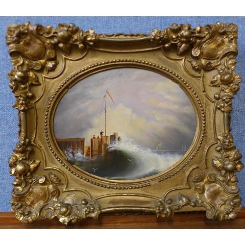 14 - English School, shipping off the coast, oil on board, 19 x 24cms, framed...