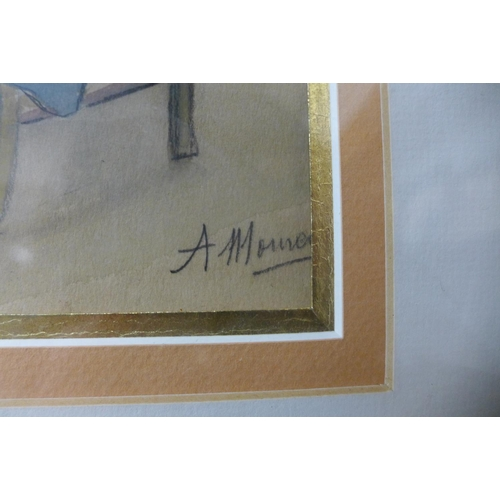 15 - French School, self portrait of the artist, pencil and gouache, indistinctly signed, 20 x 15cms, fra...