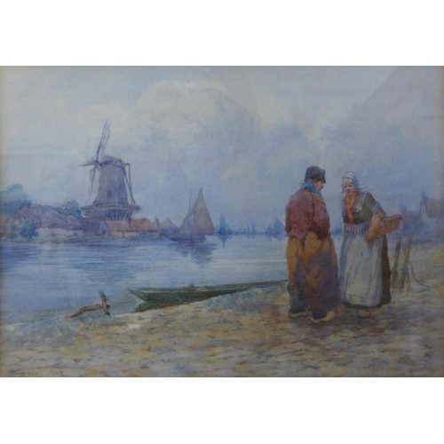 16 - J. Brooks, Dutch figures by a river with windmill in the distance, watercolour, dated 1908, 22 x 31c...