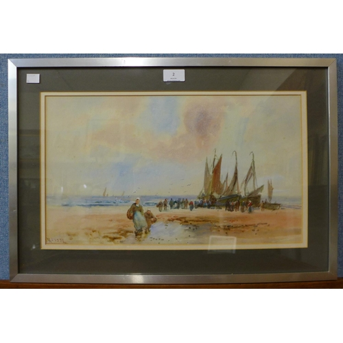 2 - Frank Rousse, (fl. 1897-1917), figures on a beach with fishing boats, watercolour, 27 x 46cms, frame...