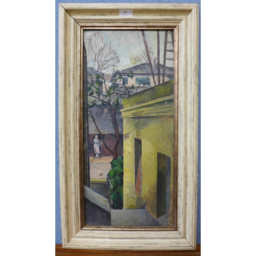 20 - French Modernist School (c.1960's), figure on a stret, oil on board, 58 x 26cms, framed...
