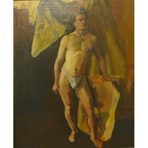 21 - * Murrey, full portrait of a partially nude male, oil on canvas, 75 x 62cms, framed...