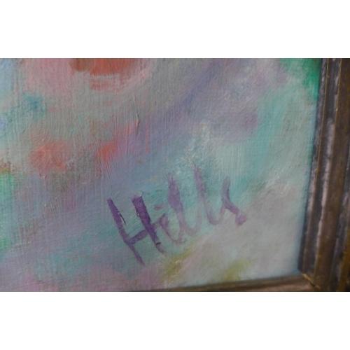 22 - Douglas Hills A.R.C.A. (1924-1988), portrait of a seated female nude, oil on board, 90 x 67cms, fram...