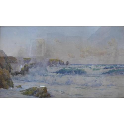 25 - John Chapman Wallis, Constantine Bay, North Cornwall, watercolour, 40 x 69cms, framed...