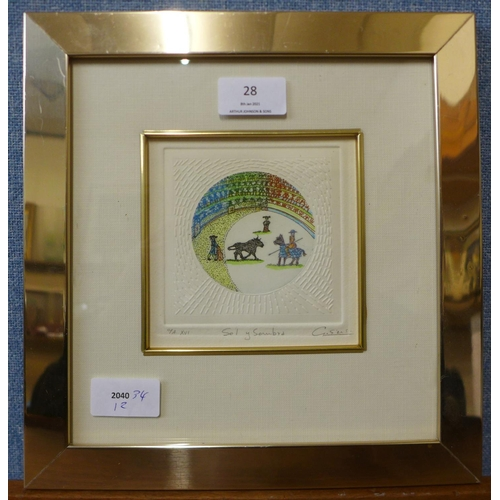 28 - A signed G. Sils limited edition etching, Sol y Sombrya, 12 x 12cms, framed...