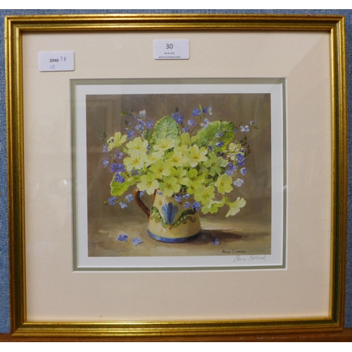 30 - A signed Anne Cotterill print, still life of flowers in a jug, framed...