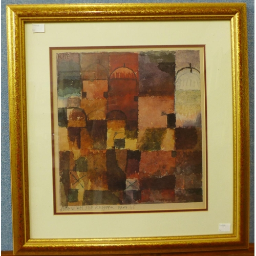 31a - A Paul Klee print, Rote u Weisse Kuppeln, framed...