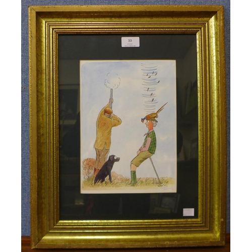 33 - A signed Guy print, humorous pheasant shooting illustration, framed...