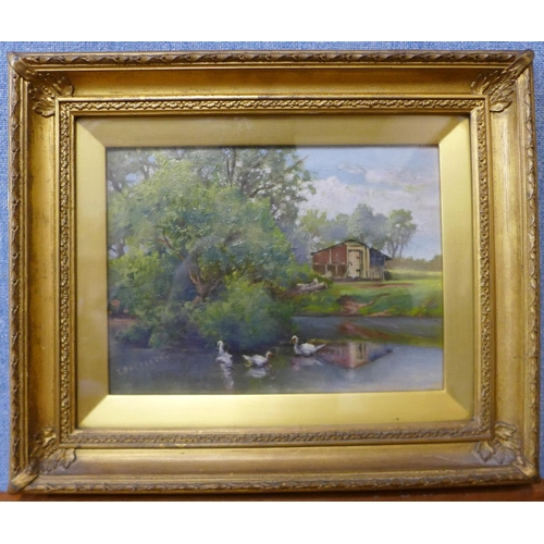 34 - T. Battersby, duck pond, oil on board, 18 x 24cms, framed and an English School watercolour, woodlan...