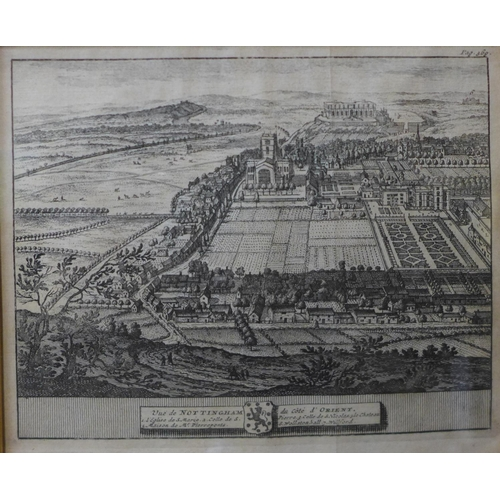 35b - Two 18th Century engraved maps of Nottingham, 14 x 17cms, framed...