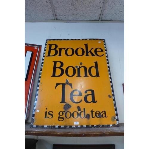 46 - A Brooke Bond Tea enamelled advertising sign, 102 x 76cms...