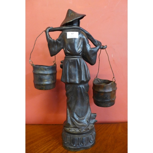 47 - A late 19th/early 20th Century bronze figure of a oriental water carrier, 49cms h...