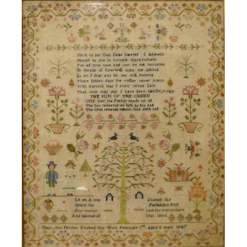 48 - A Victorian sampler by Mary Ann Fletcher, aged 8, 1847, rosewood frame, , 67 x 57cms...