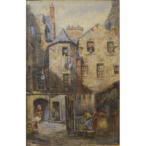 6 - Continental School (late 19th/early 20th Century), peasants in a courtyard, watercolour, indistinctl...