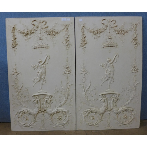 61 - A pair of Italian style faux marble Neo-Classical scene plaques, 91 x 53cms...