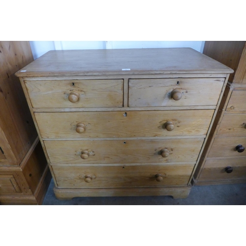 66 - A Victorian pine chest of drawers, 101cms h, 105cms w, 54cms d...