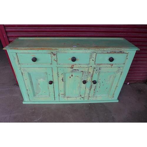 68 - A Victorian painted pine dresser, 99cms h, 165cms w, 44cms d...