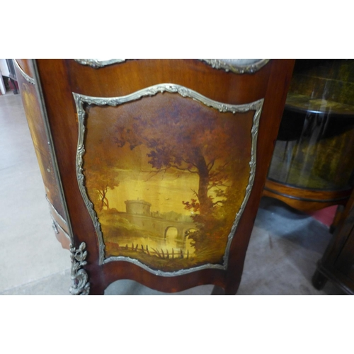 77 - A French Louis XV style mahogany and gilt metal Verni Martin vitrine, with painted Watteasque scene ...