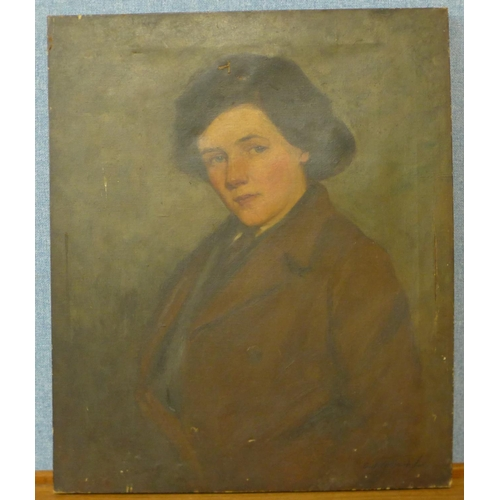 8 - English School (mid 20th Century), half portrait of a lady, oil on canvas, indistinctly signed, 61 x...