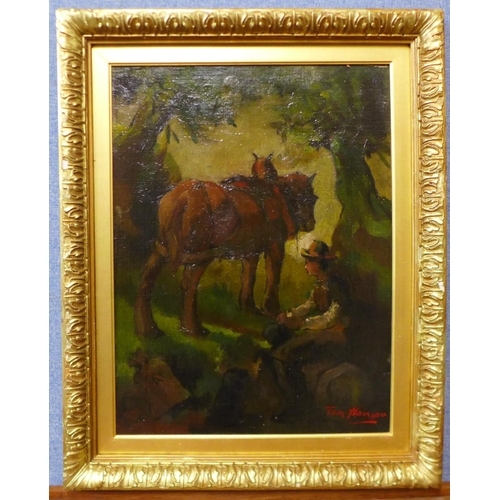 9 - Tom Hamsom, peasant boy with horse in a woodland clearing, oil on board, 50 x 38cms, framed...
