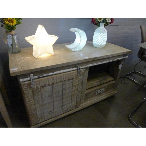 1301 - A rough sawn TV stand * this lot is subject to VAT...
