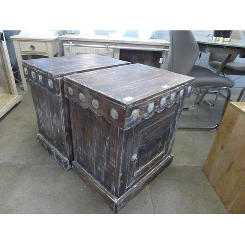 1305 - A pair of rustic single door cabinets * this lot is subject to VAT