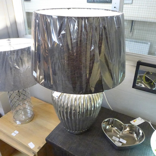 1403 - A large silver Bellagio table lamp with black fabric shade (1942251)   #...