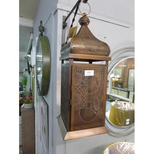 1322 - A copper effect metal lantern (70-555-14)   #...