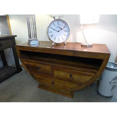 1415 - A hardwood semi-circular TV stand * this lot is subject to VAT...