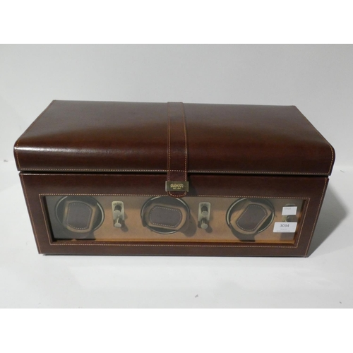 3034 - Dulwich Designs Heritage Brown Bonded Leather Watch Box with built in winders (208-97) * This Lot Is...