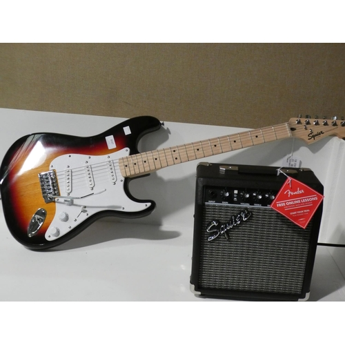 3037 - Fender Squier Electric Guitar and amp (208-229) * This Lot Is Subject To Vat...