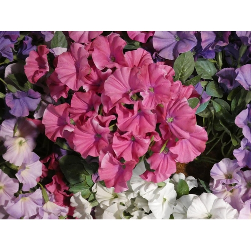 3038a - four Artificial Petunia  Ball Baskets (208-108, 109, 110, 111) * This Lot Is Subject To Vat...