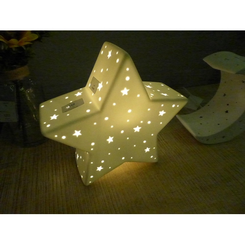 1310 - A white perforated star lamp (LP01016)  #...