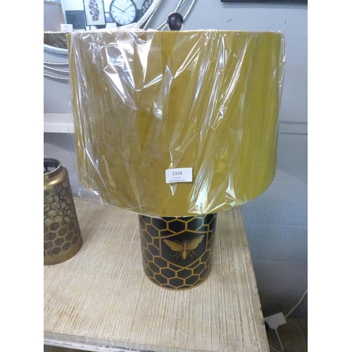 1318 - A black and gilt honeycomb pattern table lamp with bee motif and gold fabric shade (2068944)   #...
