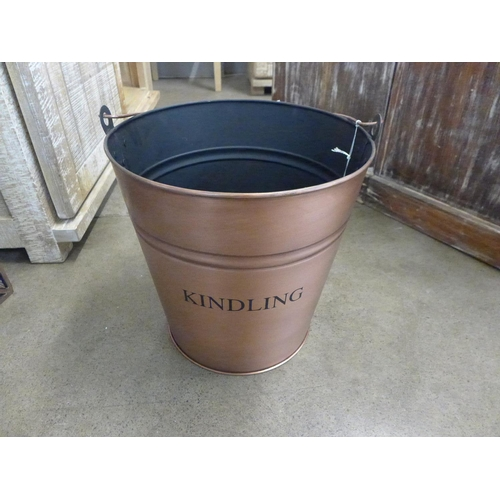 1323 - A copper finish kindling wood bucket (2005209)   #...