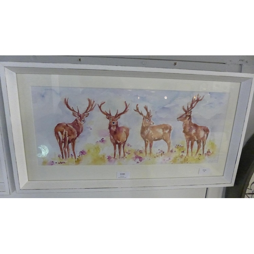 1330 - A Jennifer Rose print, Stag Herd, 30cm x 60cm (PPFPPR41739G21)   #...