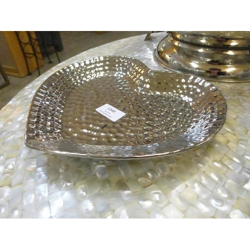 1348 - A silver finish dimple effect heart dish (1784005)   #...
