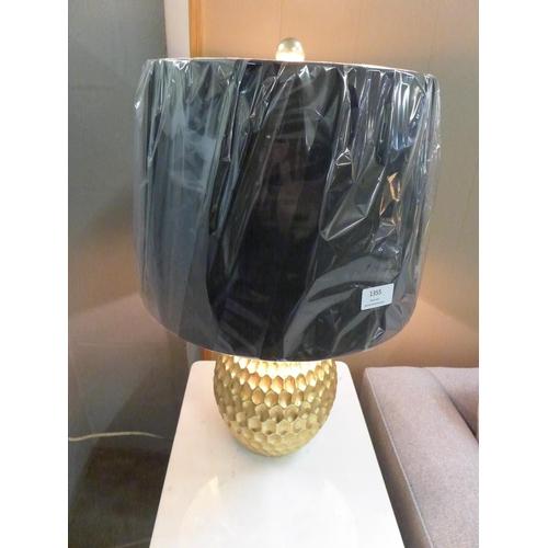 1355 - A gold base lamp with black velvet shade (2070825)   #...