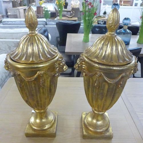 1421 - A pair of gilt George III style fluted urns, 60cms high (20038954)   #...