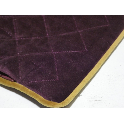 3037 - Four purple/gold piped cushion covers * this lot is subject to VAT...