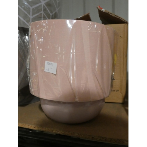 3040 - Two blush pink Stenson table lamps (H25cm) * this lot is subject to VAT